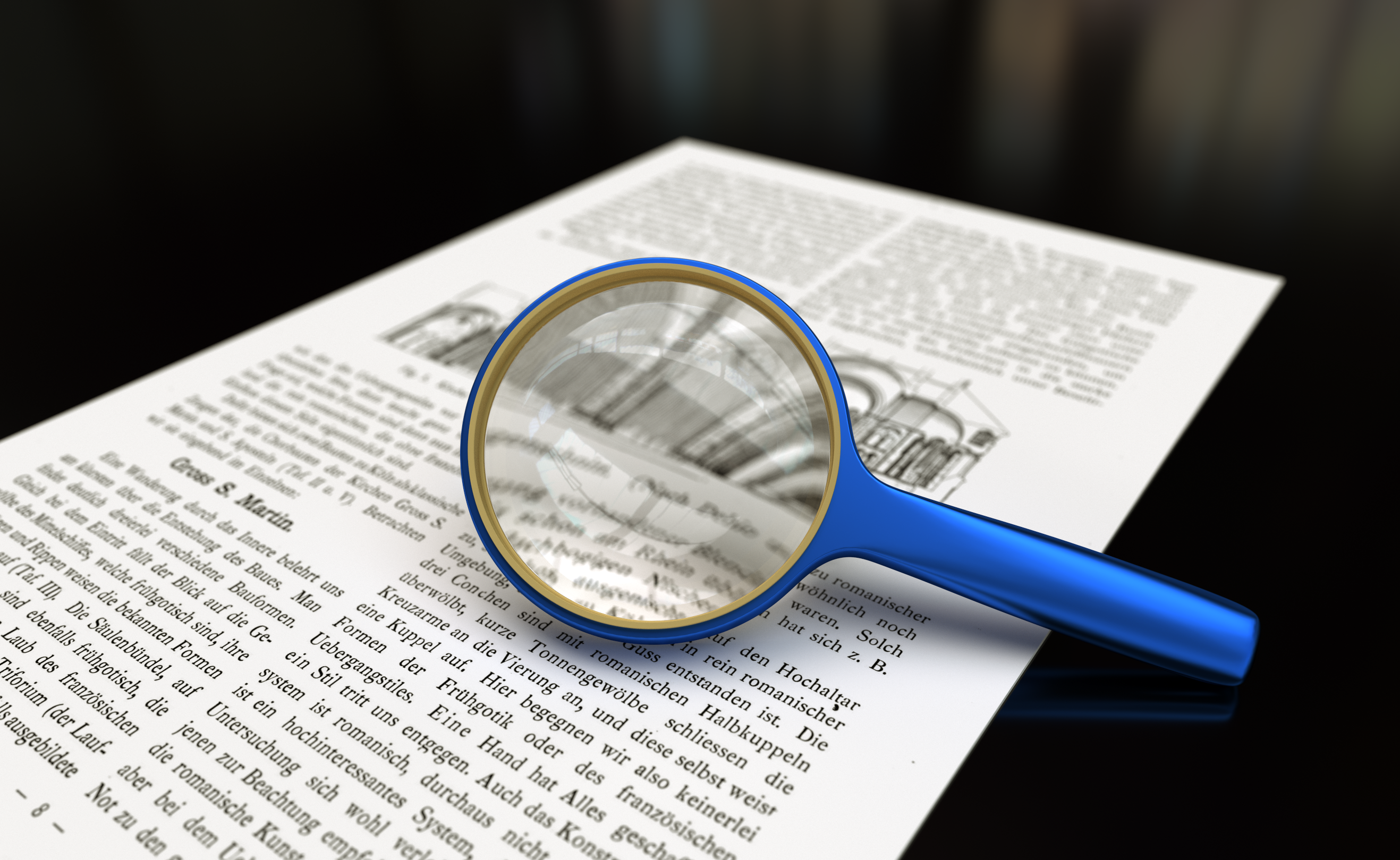 Magnifying glass showing close up text.