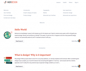 Example of a website with a simple layout and design