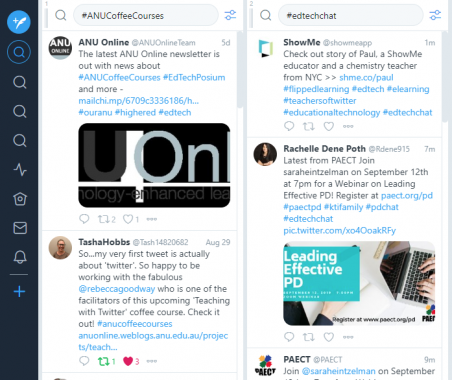 A screenshot of Tweetdeck, showing multiple feeds.