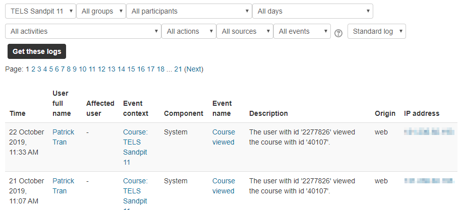 Screen capture of Moodle Logs, showing a list of what students have accessed and when in this Moodle site.